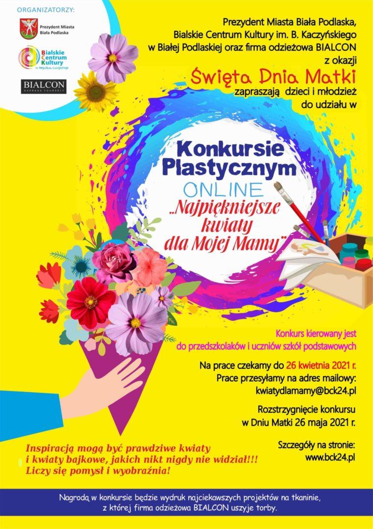 plakat konkurs plastyczny Najpiękniejsze kwiaty dla Mojej Mamy